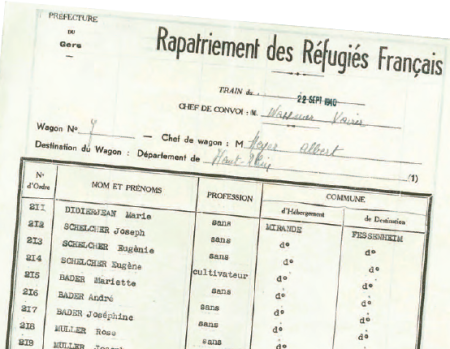 Septembre 1940 - retour d'exode de Mirande, dans l'Alsace annexée par les Nazis